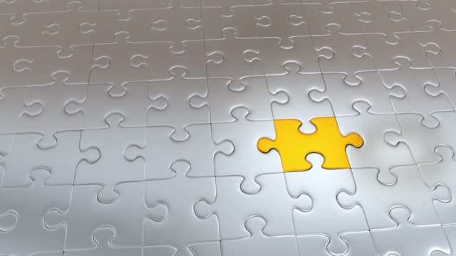 Zooming on One Grey Puzzle Piece escaping from Gray Pieces and becoming Gold