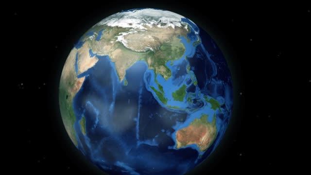 通過空間縮放到全球動畫中的位置-緬甸 (緬甸)-美國宇航局的形象禮遇 - 亞太地區 個影片檔及 b 捲影像