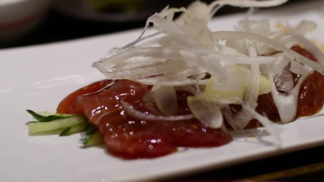Zuke Maguro fresh tuna sashimi japansese dish video