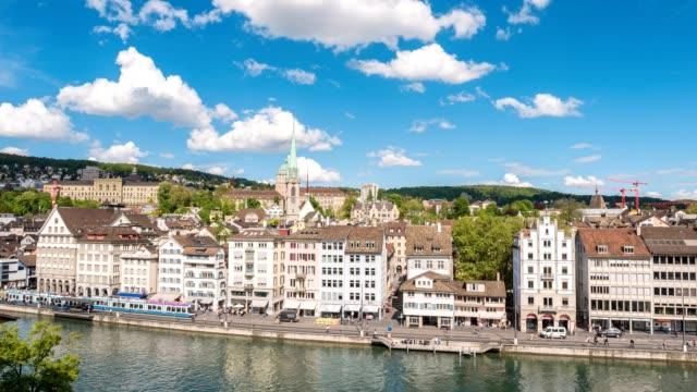 Zurich aerial view city skyline timelapse view from Lindenhof, Zurich, Switzerland, 4K Time lapse video