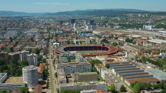 zurich city sunny day famous stadium aerial panorama 4k switzerland video