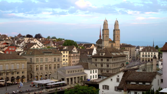Zurich Skyline with Grossmünster, Panning video