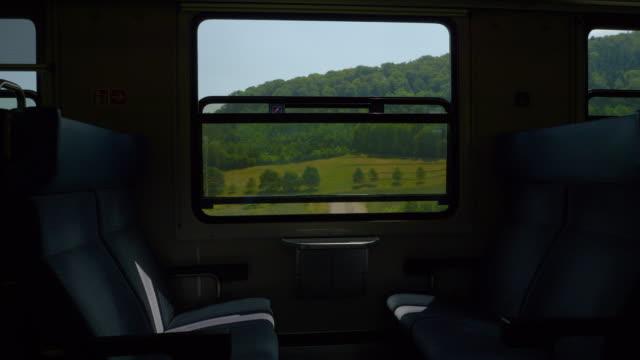 zurich to basel sunny day train road trip passenger seats wagon pov panorama 4k switzerland - vídeo