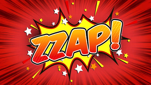 zzap - comic style text - pop art video stock e b–roll